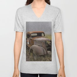 Vintage Chevy Pickup for Sale in a Field of Grass Unisex V-Neck