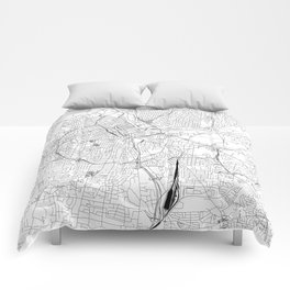 Nashville White Map Comforters