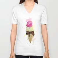 icecream V-neck T-shirts featuring ICECREAM by Creepstian