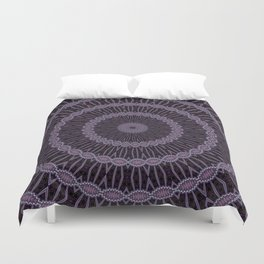 Eggplant and Pale Aubergine Circles Kaleidoscope Pattern Duvet Cover