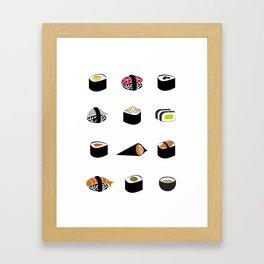 Sushi Illustration Framed Art Print