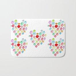 Love Unites heart pattern love illustration watercolor minimalist nursery wedding gift pastel colors Bath Mat