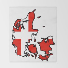 Denmark Map with Danish Flag Throw Blanket