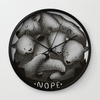 nope Wall Clocks featuring Nope by Tobe Fonseca