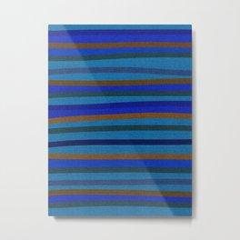 Denim Stripes in Blue, Tan, Cyan & Chocolate Metal Print