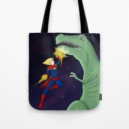 Carol Punches a Dino in Space Tote Bag