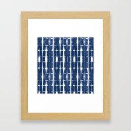 Shibori Stripes 3 Indigo Blue Framed Art Print