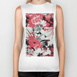 tropical flower silhouettes in red Biker Tank
