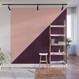 Modern blush pink burgundy watercolor color block geometric Wall Mural