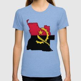 Angola Map with Angolan Flag T-shirt