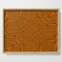 Autumnal Leaves Red Green and Amber Abstract Kaleidoscope Serving Tray