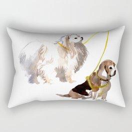 watercolor dog vol4 eskimo and beagle Rectangular Pillow