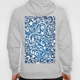 White On Blue Holiday Abstract Floral Design Hoody