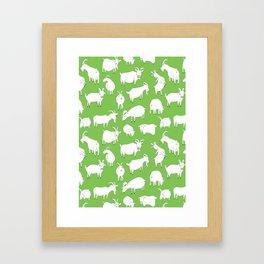 Green Goats Framed Art Print