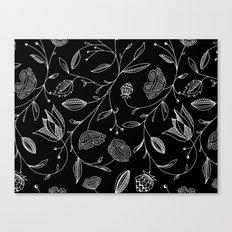 floral (black) Canvas Print