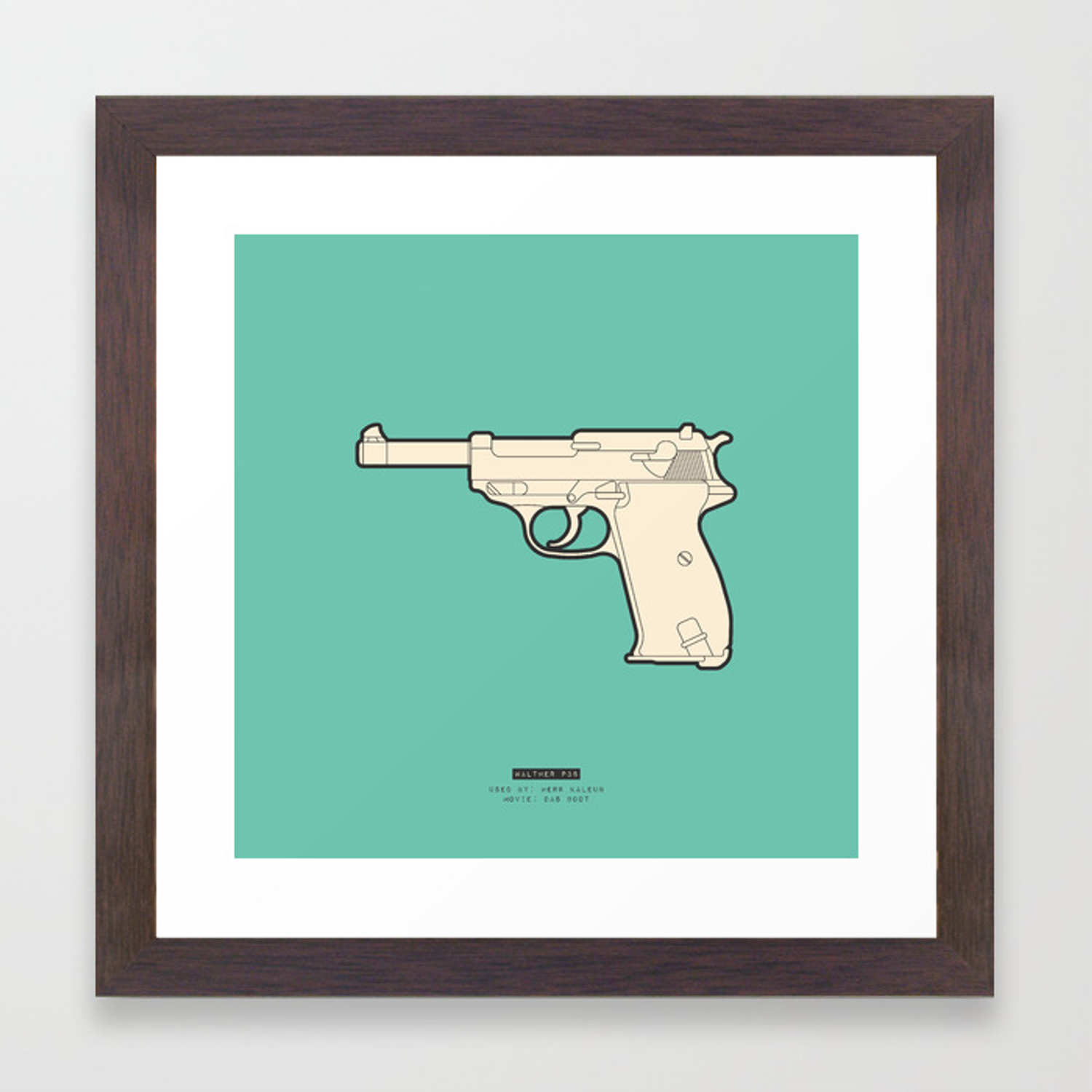 FAMOUS MOVIE WEAPONS - Herr Kaleun Framed Art Print