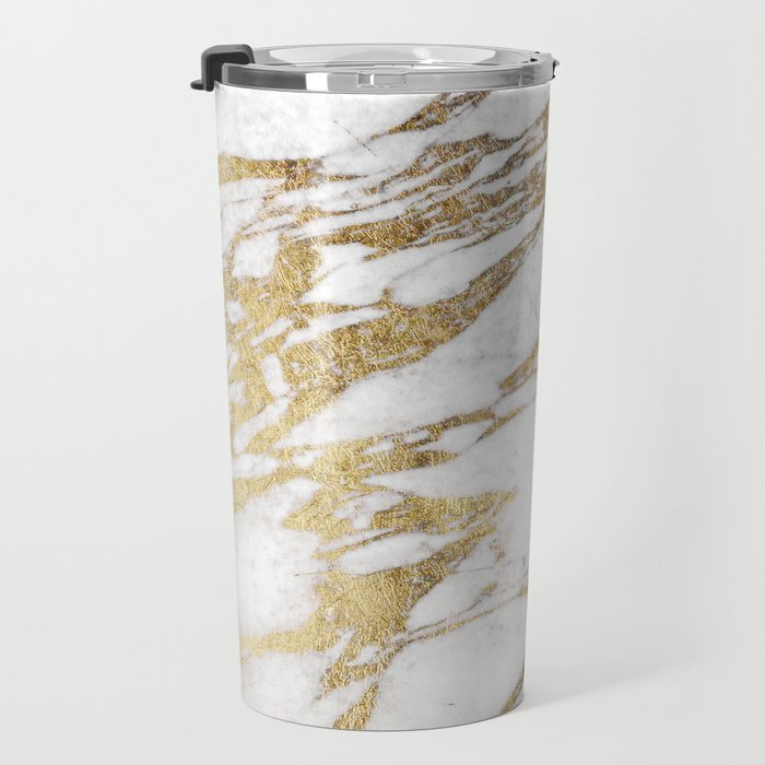 Chic Elegant White and Gold Marble Pattern Travel Mug