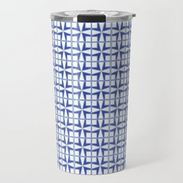 Squares and triangles pattern blue Travel Mug