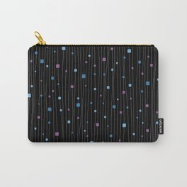Squares and Vertical Stripes - Cold Colors on Black - Hanging Carry-All Pouch