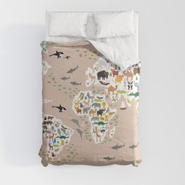 Cartoon world map for children, kids, Animals from all over the world, back to school, rosybrown Comforters