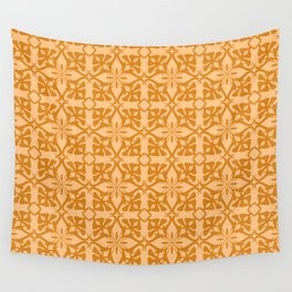 Ethnic tile pattern orange Wall Tapestry