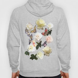 White Roses and Butterflies Hoody