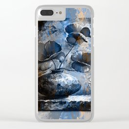 Poppies style blue peach Clear iPhone Case