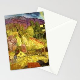 The Village on the Hill landscape painting by George Wesley Bellows Stationery Cards