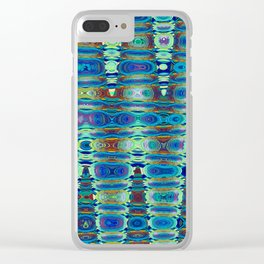 Abstract High Texture Weaving Pattern Blue Green Clear iPhone Case