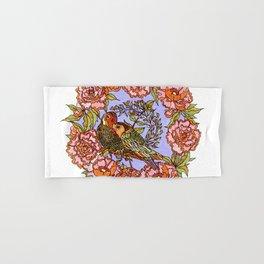 Lovebirds With Peony Wreath Hand & Bath Towel