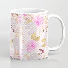 Blush pink gray watercolor hand painted floral elephant chevron Coffee Mug
