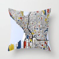 seattle Throw Pillows featuring Seattle by Mondrian Maps