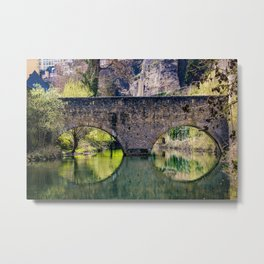 Beautiful Stone Bridge Over the Alzette River at the Bock Casemates Ruins in Luxembourg Metal Print
