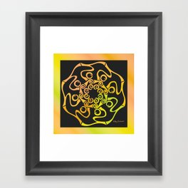 Hope Flower Mandala - Gold Black Dynamic Framed Art Print