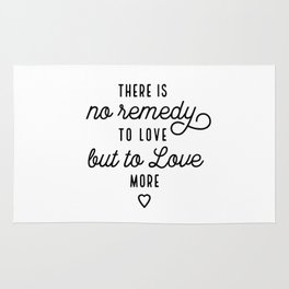 Love More (White) Typography Quote Rug