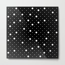 Pin Point Polka Dots White on Black Metal Print
