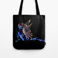 tinker bell Tote Bags featuring Tinker Bell - My Glowing Love for You by Chien-Yu Peng