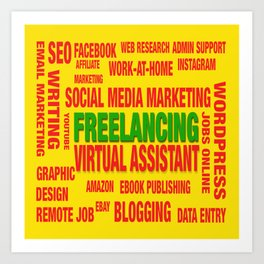 Freelancing Social Media Souvenir Art Print