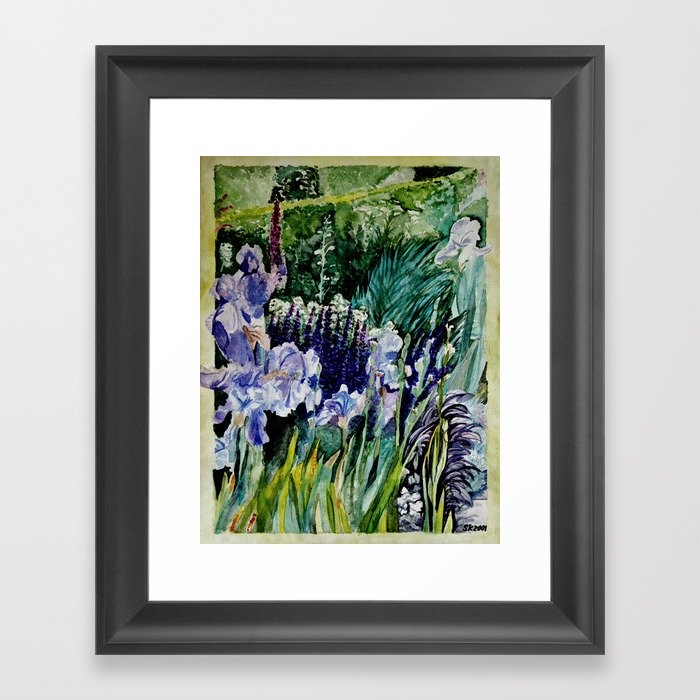 Irises in the garden - watercolor Framed Art Print