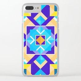 Geometric Tribal Mandala Inspired Modern Trendy Vibrant (Blue, Cobalt, Yellow, Orange, Purple) Clear iPhone Case