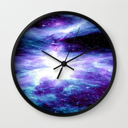 Galaxy : Orion Nebula Violet Purple Teal Blue Wall Clock