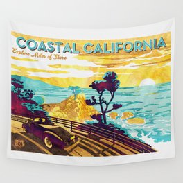 Coastal California vintage poster design watercolor painted on canvas Wall Tapestry