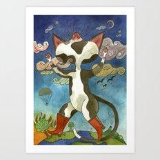 Puss in seven-league boots Art Print