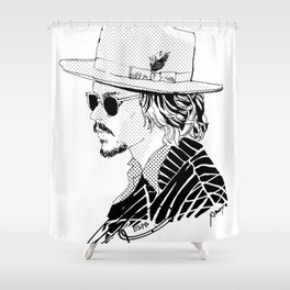 Johnny Depp with sun-glasses Shower Curtain