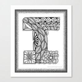 Zentangle I Monogram Alphabet Initial Canvas Print
