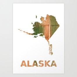 Alaska map outline Peru green streaked wash drawing illustration Art Print
