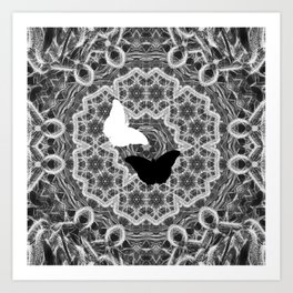 abstract wattle mandala and butterflies in black and white Art Print