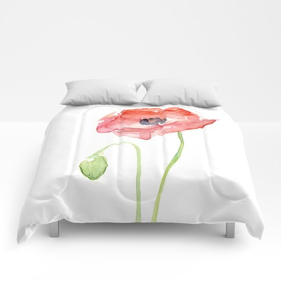 Red Poppy Flower Flowers Comforters