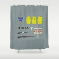 jaws Shower Curtains featuring Jaws v2 by avoid peril