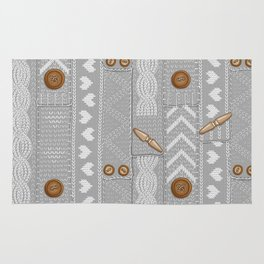 Scarves Knitted Buttoned - Gray Rug